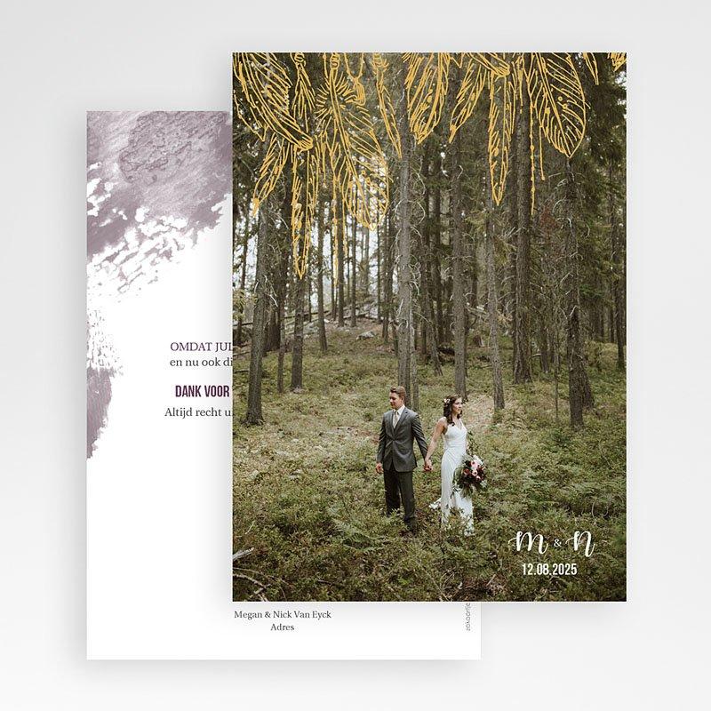 Bedankkaarten huwelijk met foto Boho Heart Wood gratuit