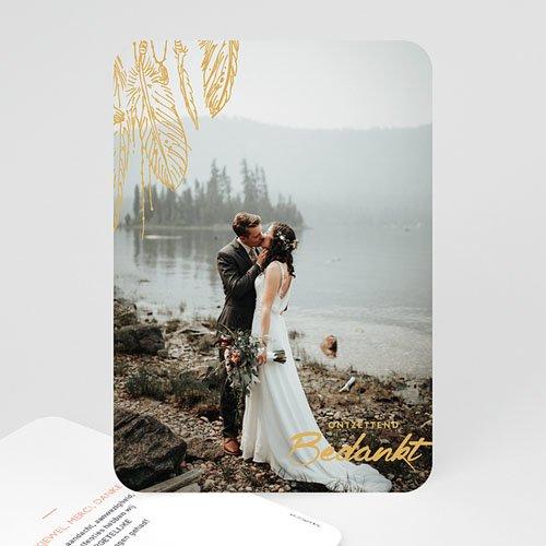 Bedankkaarten huwelijk met foto - Olijfgroen 59188 thumb