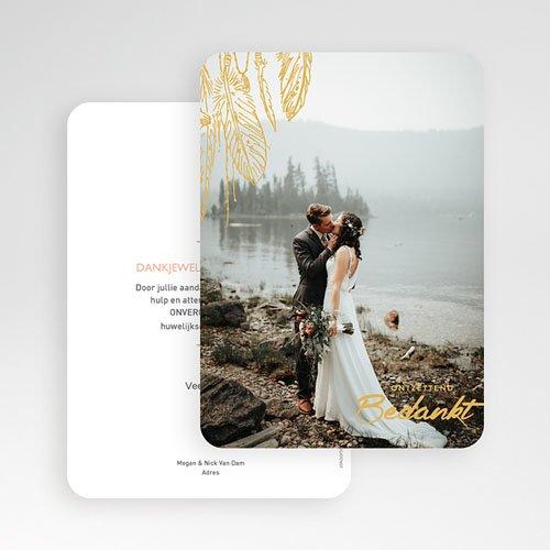 Bedankkaarten huwelijk met foto - Olijfgroen 59190 thumb