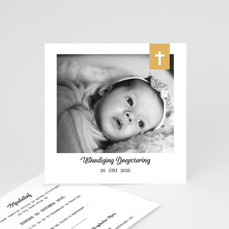 Doopkaartje meisje - Kruis & Goud 59272 thumb