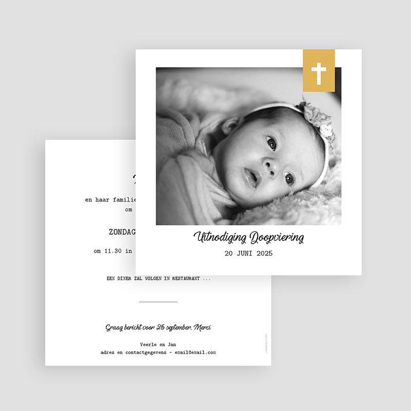 Doopkaartje meisje - Kruis & Goud 59274 thumb