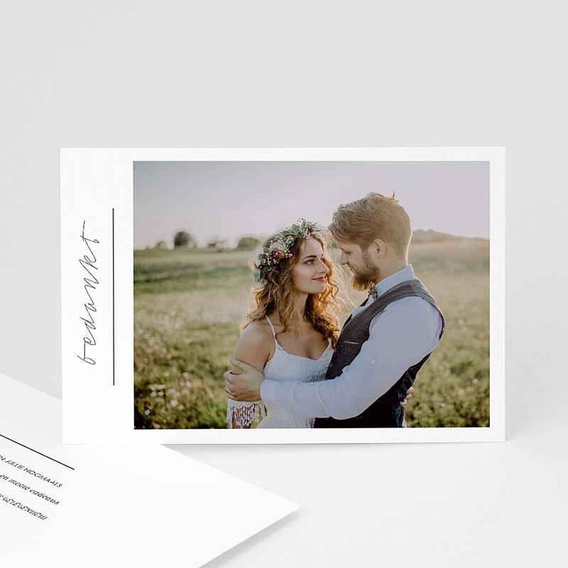 Bedankkaarten huwelijk met foto - Stijlvolle wit met grijs 59676 thumb
