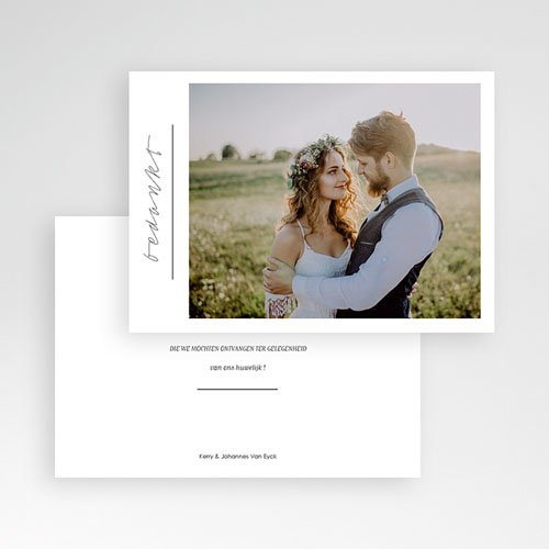 Bedankkaarten huwelijk met foto - Stijlvolle wit met grijs 59677 thumb