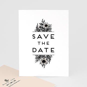 Save the date kaartjes - Black Flowers Pastel - 0