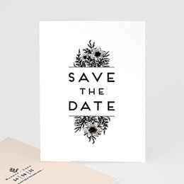 Save the date Huwelijk Black Flowers Pastel