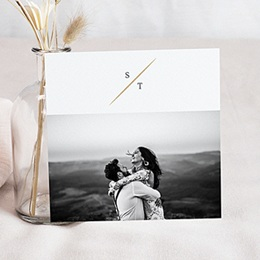 Bedankkaarten huwelijk met foto Vintage bladeren