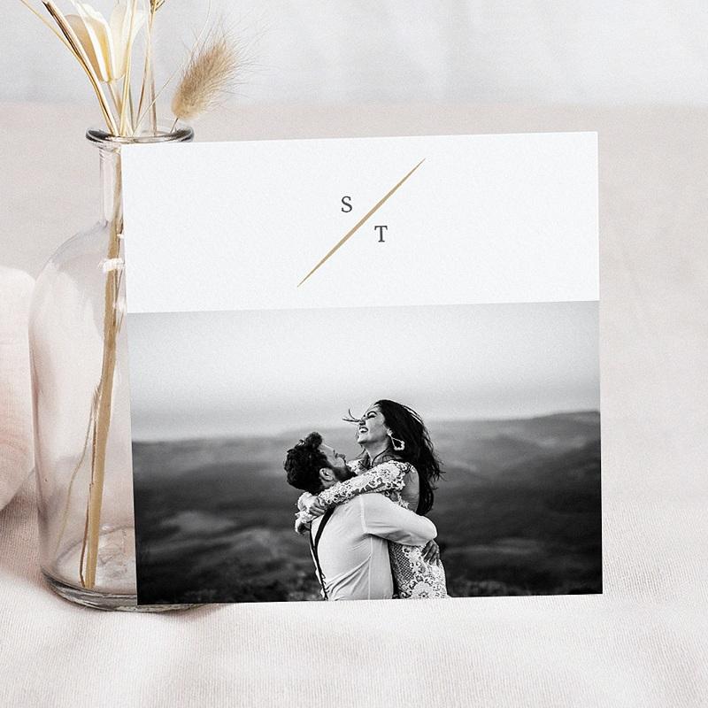 Bedankkaarten huwelijk met foto - Vintage bladeren 59717 thumb