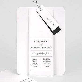 Trouwkaarten - Stijlvolle wit met grijs - 0