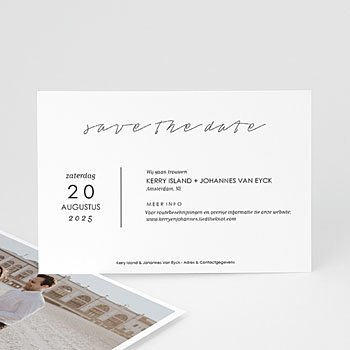 Save the date kaartjes - Stijlvolle wit met grijs - 0