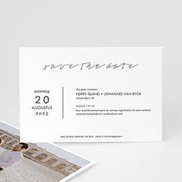 Save the date Huwelijk Stijlvolle wit met grijs