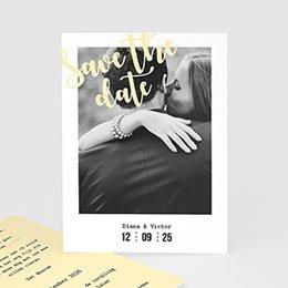 Save the date Huwelijk Strepen & geel