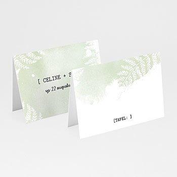 Tafelkaartjes huwelijk - Groene aquarel - 0