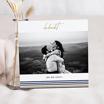 Bedankkaarten huwelijk en huwelijksreis - Blauwe strepen - 0