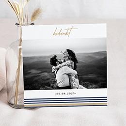 Bedankkaarten huwelijk en huwelijksreis Blauwe strepen