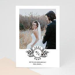 Bedankkaarten huwelijk met foto Black Flowers Pastel