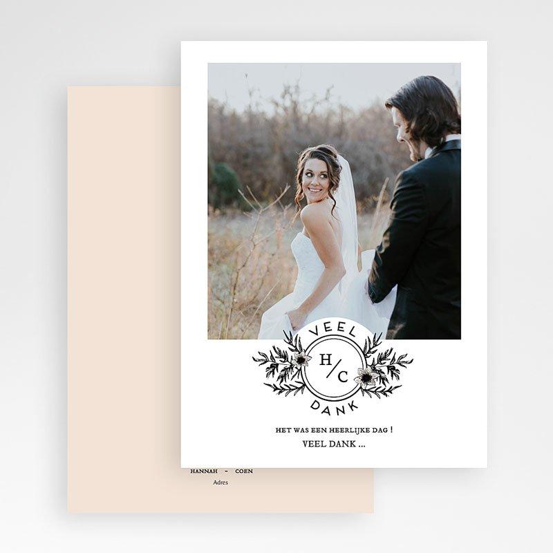 Bedankkaarten huwelijk met foto Black Flowers Pastel gratuit