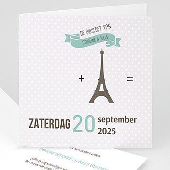 Personaliseerbare trouwkaarten - Paris Tour Eiffel - 0