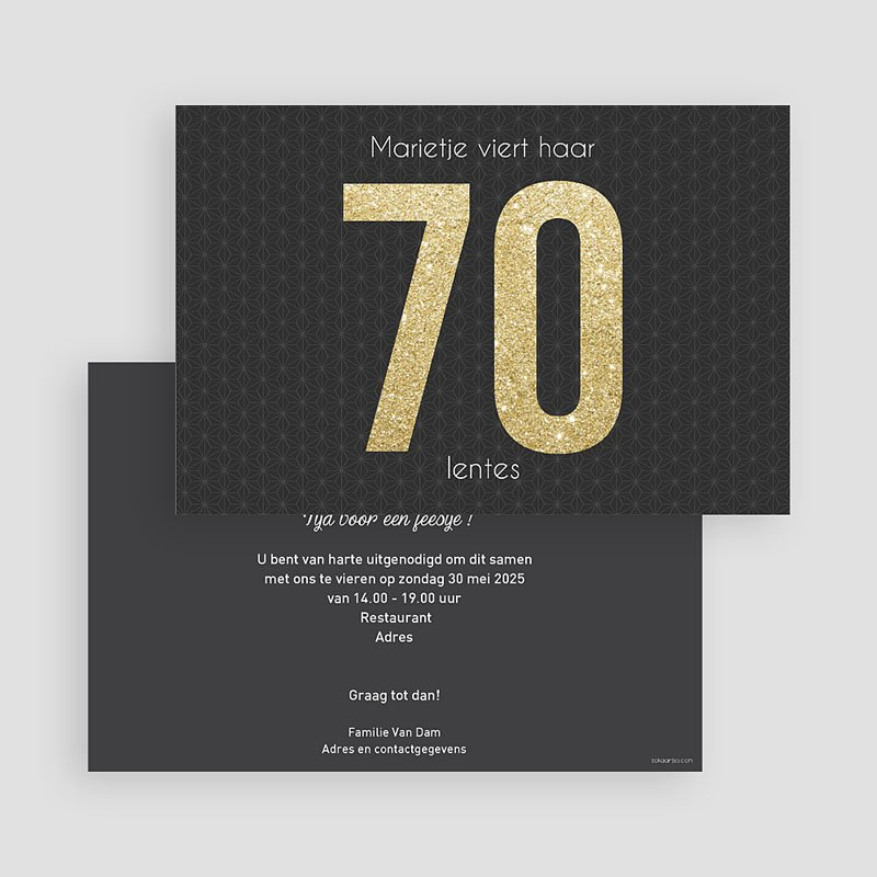 Meerderjarig Uitnodigingen Verjaardag 70 Goud gratuit