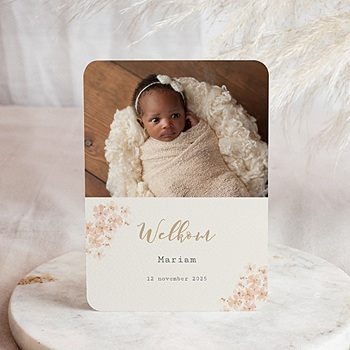 Geboortekaartje meisje - Bloemen Aquarel Meisje - 0