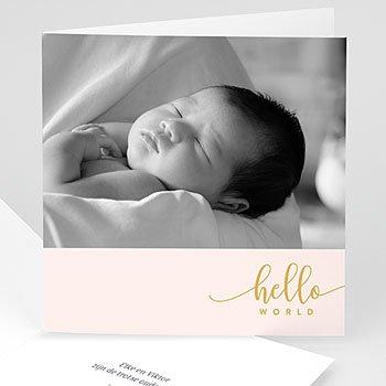 Geboortekaartje meisje - Hello World roze - 0