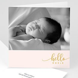 Aankondiging Geboorte Hello World roze