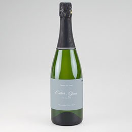 Etiket voor Champagnefles Botanisch blauw
