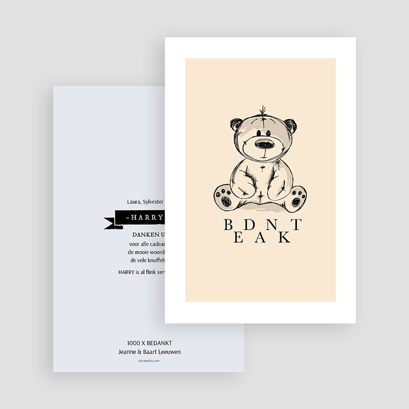 Bedankkaartje geboorte zoon - Vintage Teddy Bear 61524 thumb