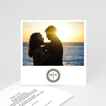Bedankkaarten huwelijk en huwelijksreis - Griekse blauw - 0