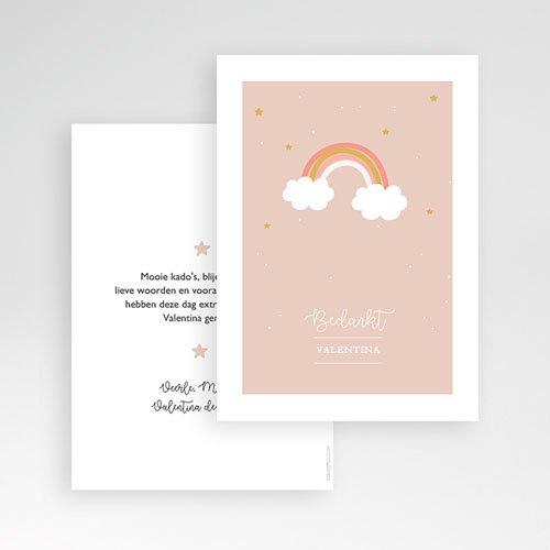 Bedankkaart doopviering meisje - Regenboog Roze 61958 thumb