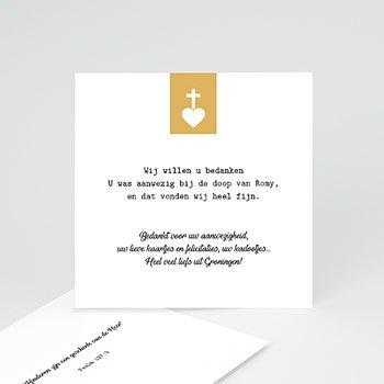 Bedankkaart doopviering meisje - Kruis & Goud - 0