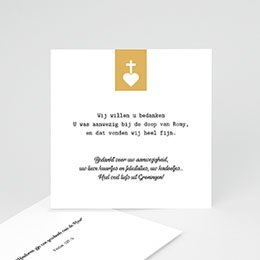 Bedankkaart doopviering meisje Kruis & Goud