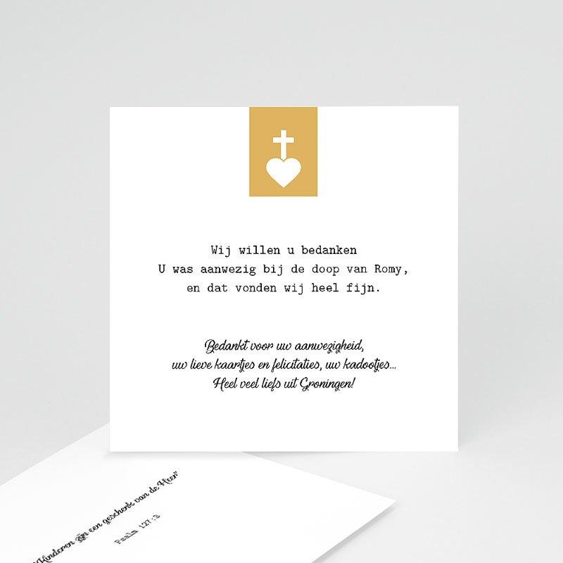 Bedankkaart doopviering meisje - Kruis & Goud 61980 thumb