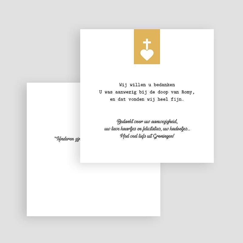 Bedankkaart doopviering meisje - Kruis & Goud 61982 thumb