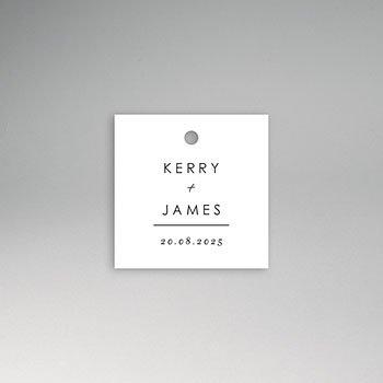 Etiket huwelijk - Stijlvolle wit met grijs - 0