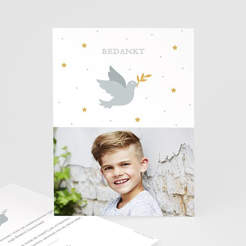 Bedankkaart communie jongen - Holy Spirit Grijs 62702 thumb