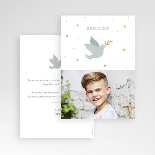 Bedankkaart communie jongen - Holy Spirit Grijs 62703 thumb
