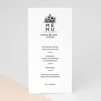 Menukaarten huwelijk - Black Flowers Pastel - 0