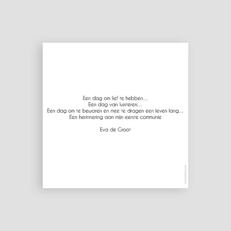 Bedankkaart communie meisje Watervef en Goud Girl pas cher
