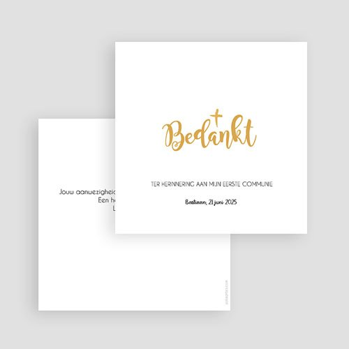 Bedankkaart communie jongen - Waterverf en Goud Boy 63077 thumb