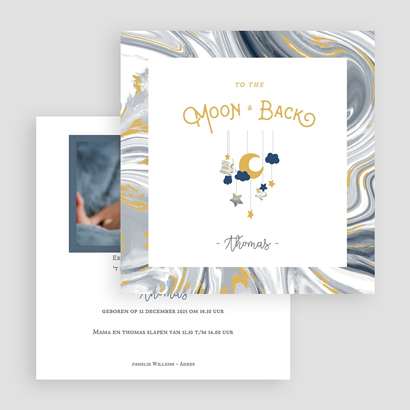 Geboortekaartjes Jongen Nieuwe Maan gratuit