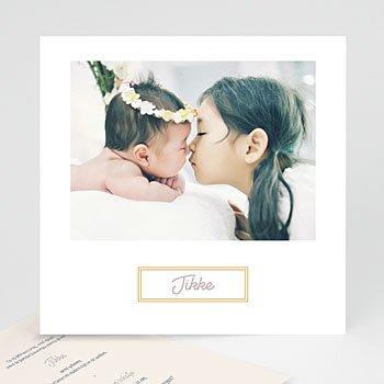 Geboortekaartjes met foto - Golden frame - 0