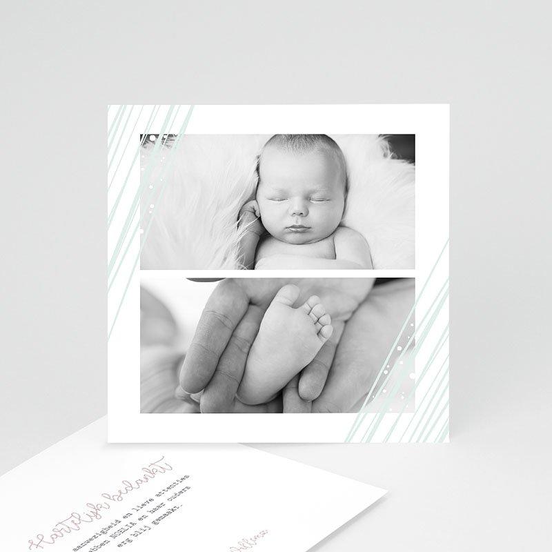 Bedankkaartje geboorte dochter - Green Lines 63427 thumb