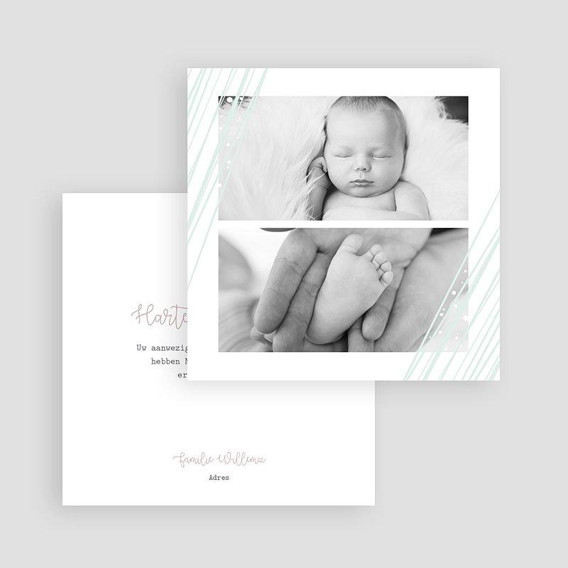 Bedankkaartje geboorte dochter - Green Lines 63429 thumb