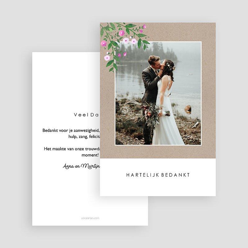 Bedankkaarten huwelijk met foto - Vintage Flower 63600 thumb