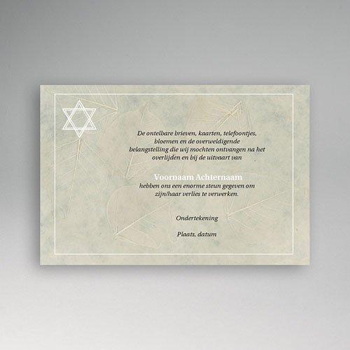 Bedankkaarten overlijden, Joods - Bladreliëf met Davidster 63685 thumb