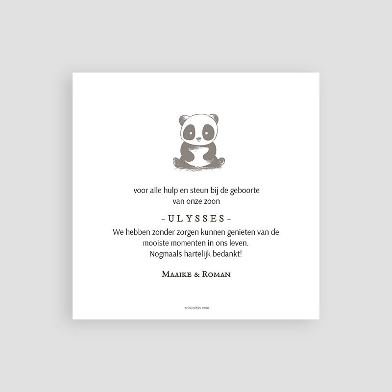 Bedankkaartje geboorte zoon - Baby Panda 63747 thumb