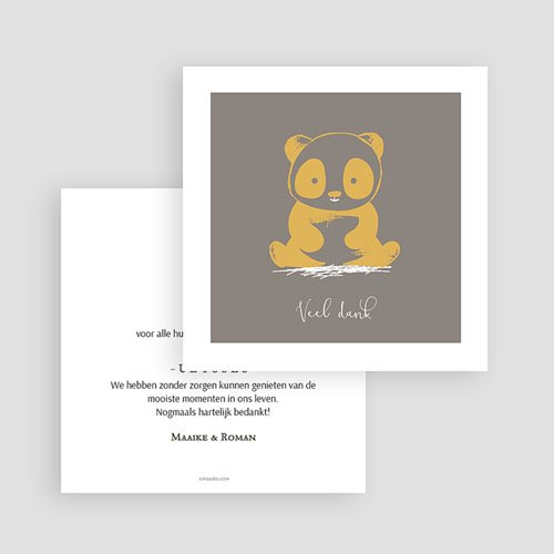 Bedankkaartje geboorte zoon Baby Panda gratuit
