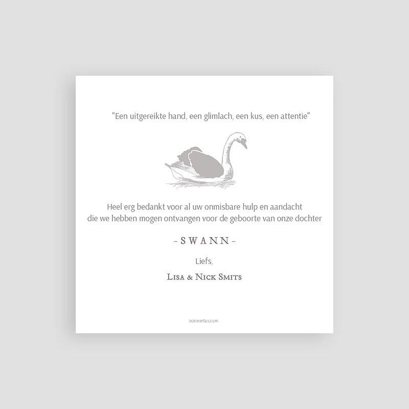 Bedankkaartje geboorte dochter Zwaan & Goud pas cher