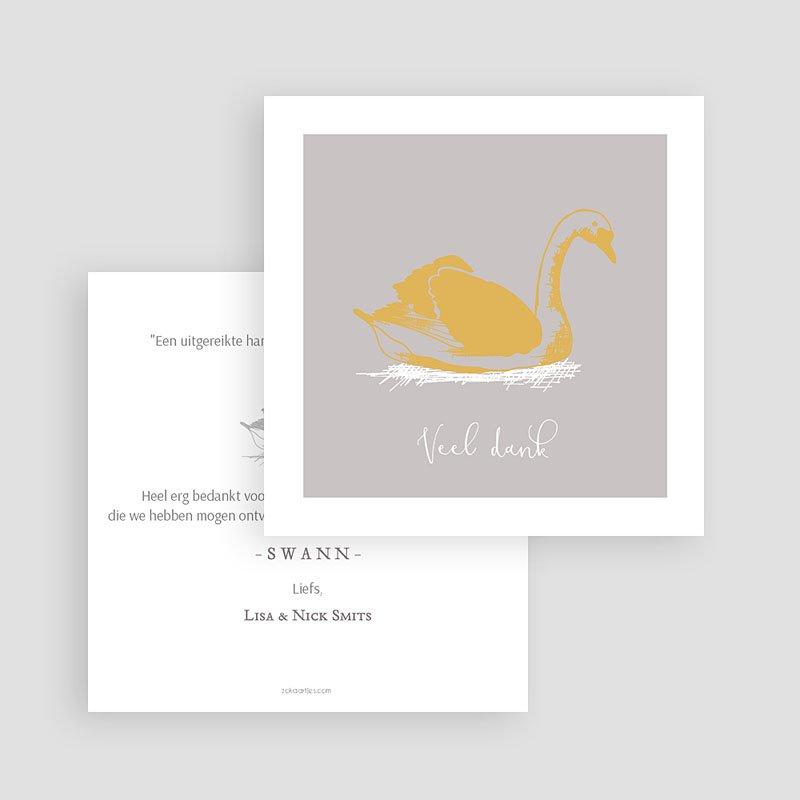 Bedankkaartje geboorte dochter Zwaan & Goud gratuit