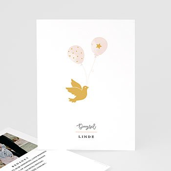 Bedankkaart doopviering meisje - Gouden duif - 0